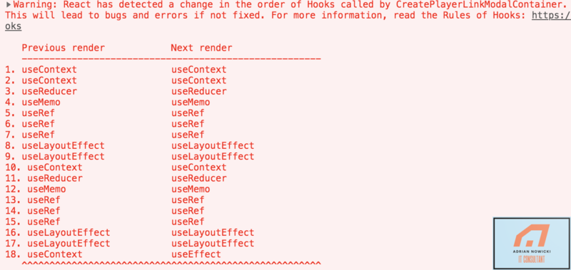 React has detected a change in the order of hooks
